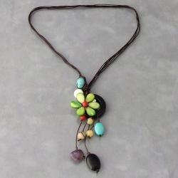 Handmade Drop Cluster Multistone Green Flower Pendant Necklace