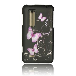 Luxmo Purple Butterfly Rubber Coated Case for LG Thrill 4G