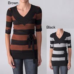 Ci Sono by Adi Juniors Striped V neck Elbow sleeve Sweater