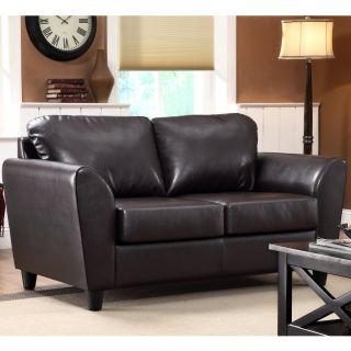 Insten Mathew Dark Brown Faux Leather Loveseat