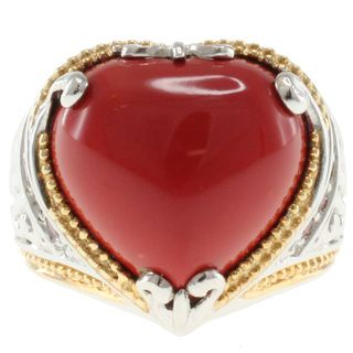 Michael Valitutti Two Tone Reconstituted Coral Heart Ring