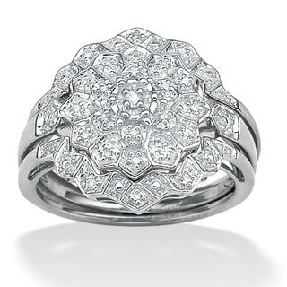 Isabella Collection Platinum/ Silver 1/6ct TDW Diamond Ring Set (H I