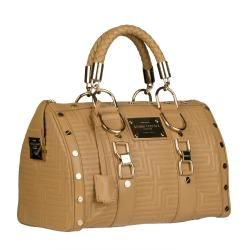 Versace Beige Leather Stitched Bowler Bag