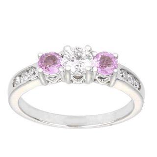 14k White Gold 1/2ct TDW Diamond and Pink Sapphire Anniversary Ring (H