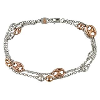 18K Two tone Gold Multi link Bracelet