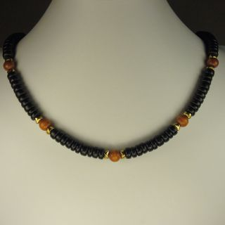 Jewelry by Dawn Black And Brown Wood Mens Necklace