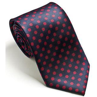 Platinum Ties Mens Navy Red Dot Tie
