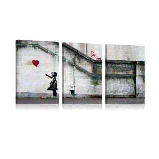 XXL Format + Top Bild Leinwand + 3 Teilig + Banksy + Wandbilder 020115