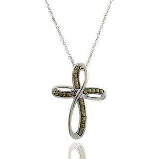 Silver Overlay Marcasite Twisted Cross Necklace