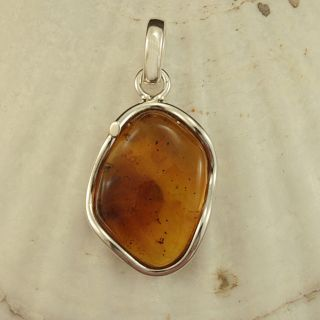 Sterling Silver Honey Baltic Amber Pendant (Lithuania)