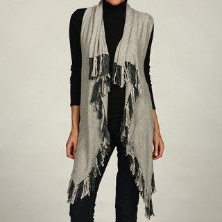 Colour Works Womens Fringed Hem Open Sweater Vest
