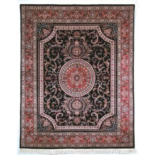 Asian Hand knotted Royal Kerman Black and Red Wool Rug (6 x 9