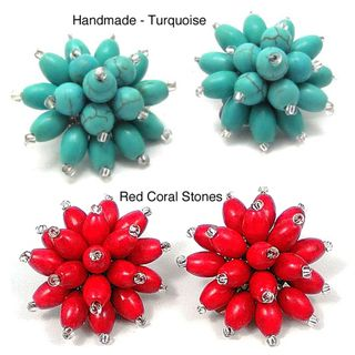 Handmade Turquoise Chrysanthemum Blast Clip On Earrings (Thailand