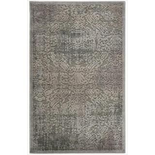 Graphic Illusions Grey Antique Damask Pattern Rug (23 x 39