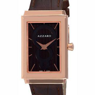 Azzaro Mens Legend Rectangular Rose Gold PVD Havana Strap Watch