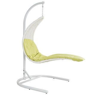 Enclave Suspension Series White/Green Rattan Outdoor Patio Swing Chair