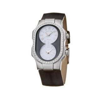 Philip Stein Womens Signature Steel and Leather Diamond Watch