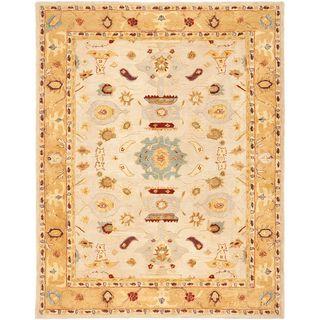 Handmade Tribal Ivory/ Gold Wool Rug (12 x 18)