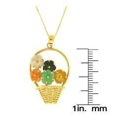 Mason Kay 14k Yellow Gold Jadeite Flower Basket Necklace