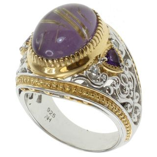 Michael Valitutti Two tone Rutilated Amethyst Ring