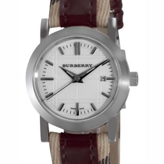 Burberry Womens Nova Check Red Leather Strap Watch