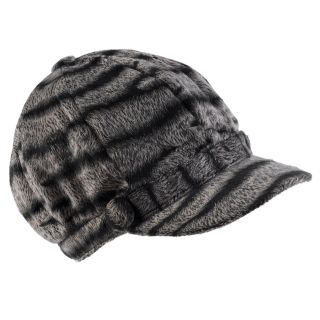 Hailey Jeans Co. Womens Faux Fur Zebra Print Newsboy Cap