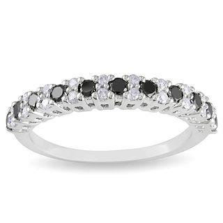 Miadora 14k White Gold 1/2ct TDW Black and White Diamond Ring (H I, I2