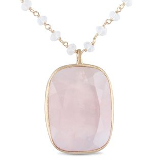 Miadora 18k Rose Goldplated Silver Rose Quartz Bead Necklace