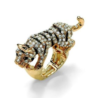 Lillith Star Goldtone Black and White Cubic Zirconia Tiger Stretch