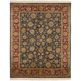 Asian Hand knotted Royal Kerman Blue and Red Wool Rug (8 x 10