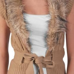 Adi Designs Juniors Faux Fur Collar Tie Waist Sweater