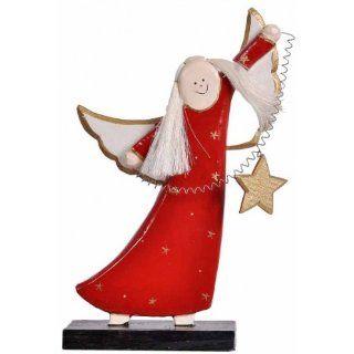 handgeschnitzter Engel aus Holz, Weihnachts Engel in rot oder weiß