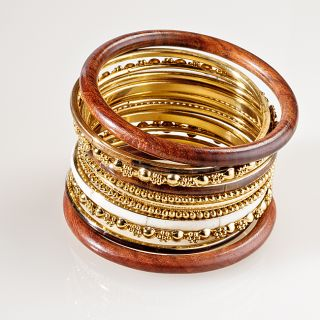 Creative Design Group Goldtone Brown Wood Bangle Bracelet Set