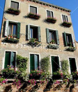Italian windows with flowers, Venice  Stock Photo © Olena Buyskykh