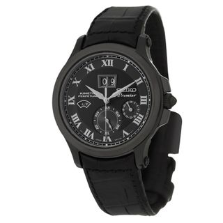 Seiko Mens Premier Black Stainless Steel and Leather Strap Watch