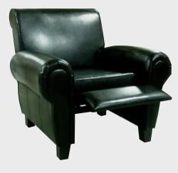 Black Leather Accent Recliner Club Chair