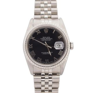 Pre owned Rolex Mens Datejust Stainless Steel Black Roman Dial Watch
