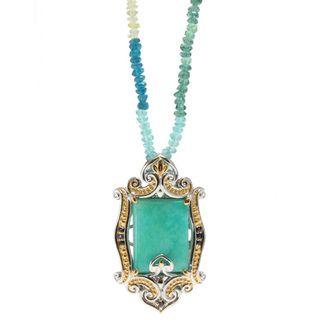 Michael Valitutti ite, Sapphire and Apatite Pendant Necklace