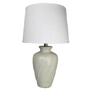 Off white Leaf Embellished Ceramic Table Lamp