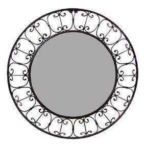 Wrought Iron Mirror Round Beveled w/ Frame