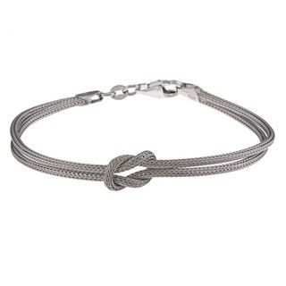 La Preciosa Sterling Silver Double Strand Center Love Knot Bracelet