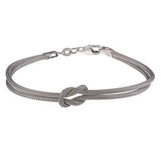 La Preciosa Sterling Silver Double Strand Center Love Knot Bracelet