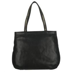 Fendi Chains Black Metallic Calfskin Shopper Bag