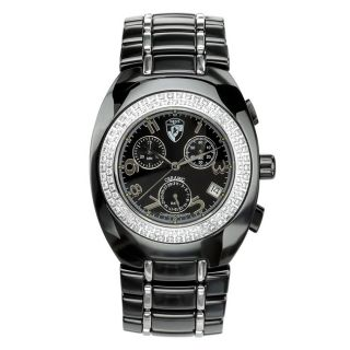 Heys USA Mens Raku Two tone Black Ceramic Watch