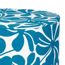 Brooklyn 22 inch Round Turquoise Floral Indoor/Outdoor Ottoman