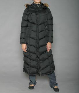 Hunny Bun Womens Black Long Hooded Puffer Coat