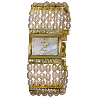 Vernier Womens Rectangular Gold Case Fresh Water Pearl Bracelet Watch