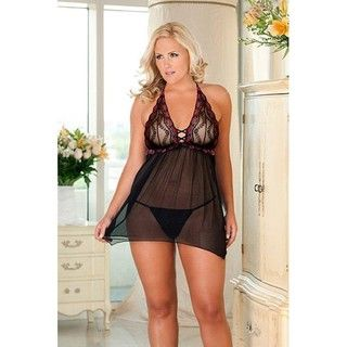 Rene Rofe Womens Plus 2 pc Lace and Mesh Halter Babydoll with G