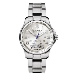 Victorinox Swiss Army Mens Officers Automatic Silver Dial Stainless