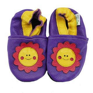 Smiley Flower Purple Soft Sole Leather Baby Shoes